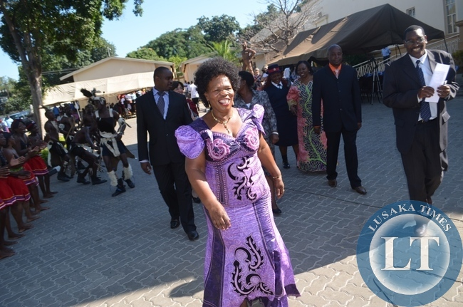 Chief and Traditional Affairs Minister Nkandu Luo (in front dances) and National Museums Board Executive Secretary Flexon Mizinga (far right) at Livingstone Museum yesterday during the International Museum Day 2014 celebrations