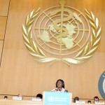 First Lady Dr Christine Kaseba addresses the  World Health Assembly at UN Building in Geneva, Switzerland  on May 20,2014 -Picture by THOMAS NSAMA
