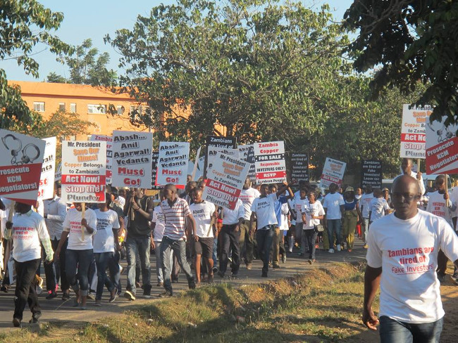 Hundreds of protesters who  marched to the Headquarters of Konkola Copper Mines in Lusaka Thursday afternoon
