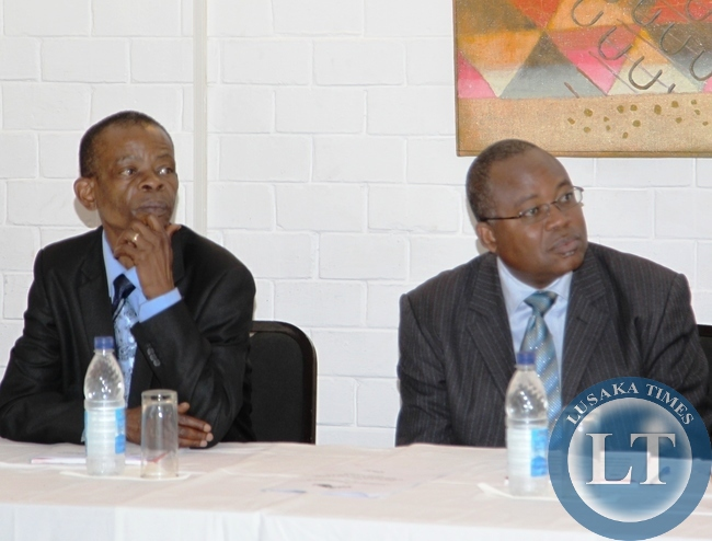 Information Minister Dr Joseph Katema with Dr Cristopher Kalila during a WHO workshop at Chaminuka Lodge.