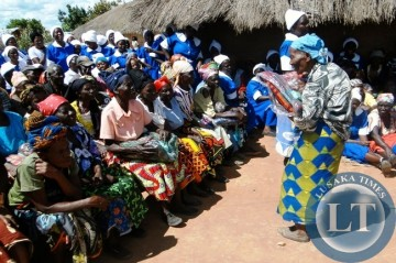 Marble Nachula 87 of Maraundi village in Mbala could not hide her joy after receiving a blanket and foodstuffs donated by the District Dorcus Mothers of the Seventh Day Adventist Church in the area recently. Over 100 elderly persons benefited from the gesture.