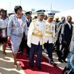 President Sata with First Lady Dr Christine Kaseba flanked by  ZAF Commander Lt Gen Eric Chimese on arrival in Livingstone for the ZAF Commissioning Parade on May 9,2014 -Picture by T.Nsama