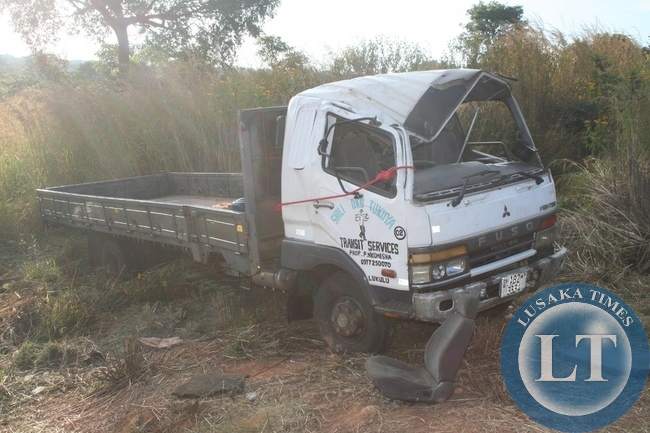 -TWO people died on the spot while seven other passengers are nursing serious injuries in Kabompo district hospital when the driver of the above Mitsubishi Fuso truck registration No. ABZ 3334, lost control due to a tyre burst. The accident happened on Tuesday night around 20 hours. The truck was taking dry fish from Lukulu to Solwezi. The driver of the truck is currently in police custody.