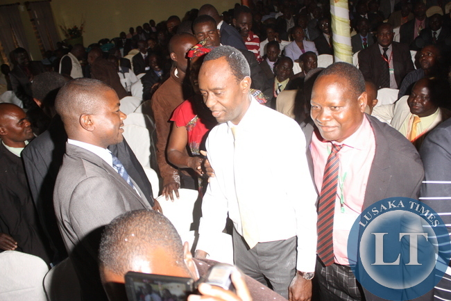 NEWLY elected Local Government Association of Zambia (LGAZ) president Mulenga Sata being congratulated by supporters after his election at Solwezi's Kansashi Hotel