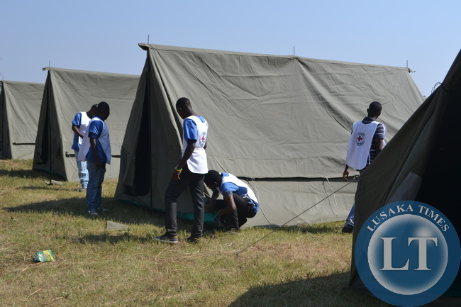 Erected tents at Helen Kaunda Secondary School grounds for the homeless Mindolo North squatters whose houses where demolished