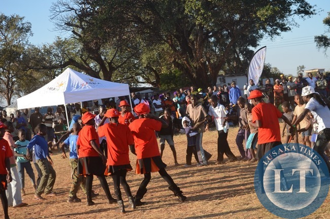 Livingstone youths and children dancing the Make a Circle song by a musician Mozegeta (not in picture) at the just ended 8th Southern Tourism, Agricultural and Commercial Show Society (STACSS).
