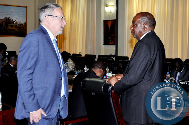 Vice-President Guy Scott with Finance minister Alexander Chikwanda before  a meeting at State House on July 14,2014 -Picture by THOMAS NSAMA