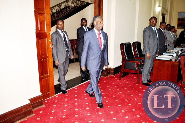 President Sata arrives for a Cabinet meeting  at State House on July 14,2014 -Picture by THOMAS NSAMA