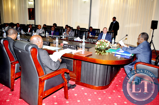 President Michael Sata with Cabinet ministers during a meeting at State House on July 14,2014 -Picture by THOMAS NSAMA