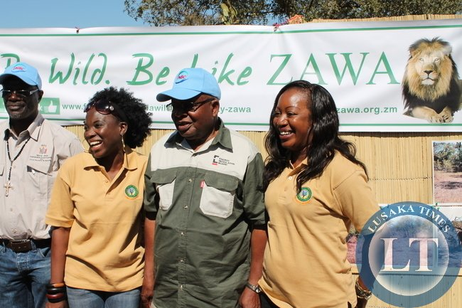 Southern Province Minister Daniel Munkombwe at the official opening of the show with ZAWA staff