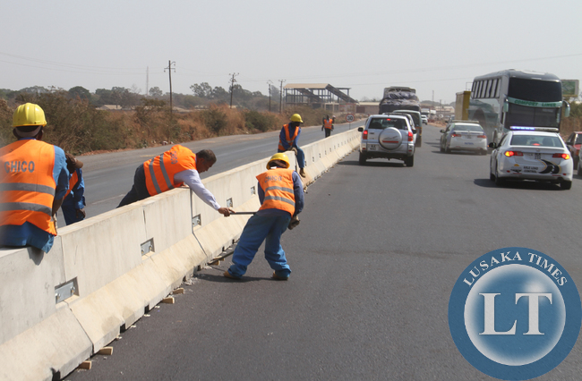 A section of Kafue road under construction in Lusaka.