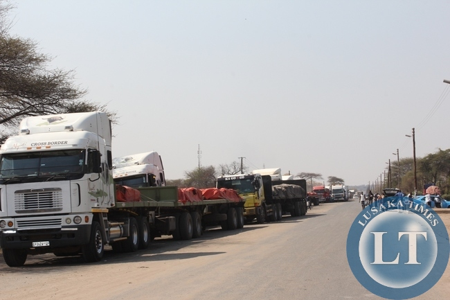 Above, trucks from Democratic Republic of Congo (DRC) heading to South Africa mostly carrying copper are stranded at Kazungula border post in Southern Proviince as authorities from Botswana site are not allowing due to enter their country fears of Ebola in DRC.  Some drivers are now planning to back to Livingstone and try to use the Victoria Falls border post on the Zimbabwe route to South Africa