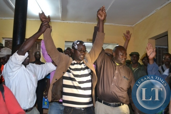 ELECTED Solwezi Central Member of Parliament Dawson Kafwaya being congratulated by his supporters after emerging winner in Thursday's elections