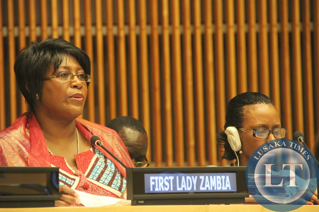 First Lady Dr Christine Kaseba speaks during the High level dialogue with African first Ladies on maternal and New born Health beyond 2014 with focus on adolescent girls at the UN Building in New York on September 22,2014 -Picture by THOMAS NSAMA