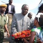 President Sata receives flowers on arrival in Solwezi to drum up support for PF candidate Malwa