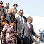 File:President Sata and First Lady Dr Christine Kaseba alight from the plane on arrival at Kenneth Kaunda International Airport from New York on sepember 28,2014 -Picture by THOMAS NSAMA