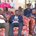 Education Deputy Minister Patrick Ngoma confers with Lusaka Province Permanent Secretary Wamunyima Muwana will Luangwa DC Eunie Mumba looks on during the Dantho Traditional Ceremony of the Chikunda people in Luangwa over the weekend