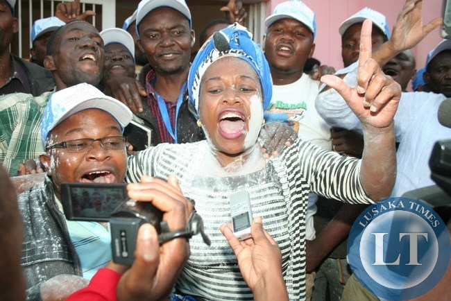 MMD's Victoria Kalima, surrounded by her supporters at Chipata Municipal Council after she retained her Kasenengwa seat in the just ended by-election held on Thursday