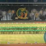 Combined team of Defence forces at the National Heroes Stadium during the mass display of performance in preparation of Golden Jubilee