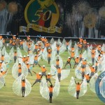 A Combined team of performs during the mass display of performance in preparation of Golden Jubilee celebration