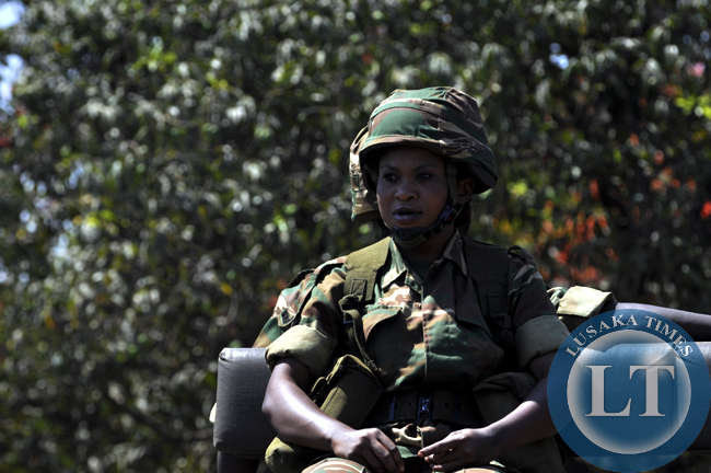 A Zambia Army soldier captured on duty during the independence day march past in Lusaka
