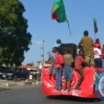 Children  catch a jubilee ride on the Zambian Lotto promotional truck