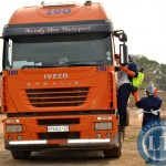 HEALTH workers disinfectant a foreign truck before removing the body of a Zimbabwean driver China Maduma who was found dead after parking for a rest in Choma
