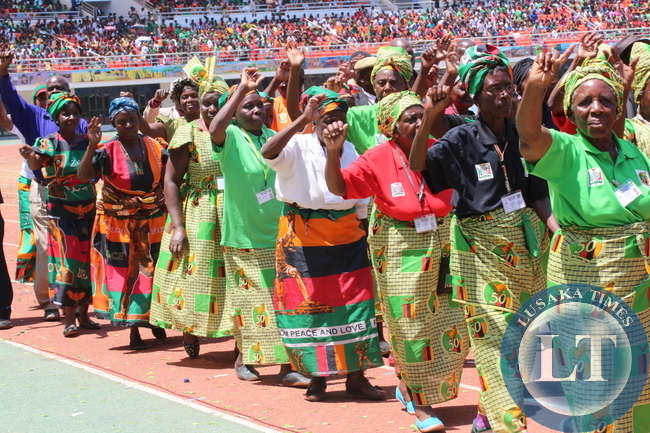 Combined Choir of political parties that have ruled Zambia at the jubilee festivities: MMD, PF and UNIP