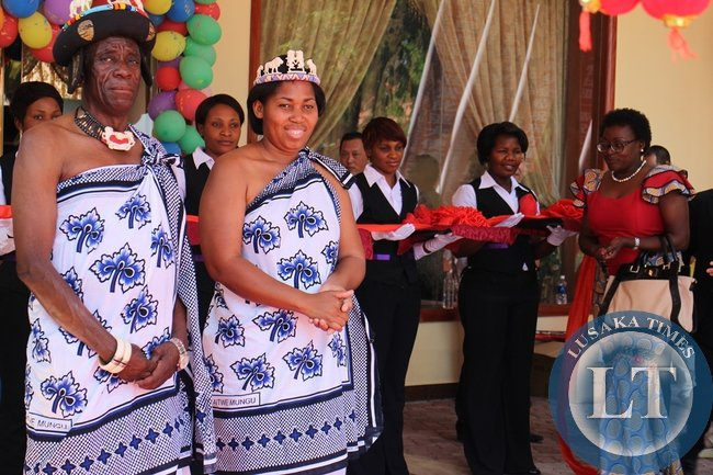 Senior Chief Mukuni of Kazungula District in Southern Province (left), his wife Victoria (middle) and Zambia's First Republican President Kenneth Kaunda's daughter, Cheswa Kaunda Silwizya (right) during the official opening of the Hotel in Livingstone
