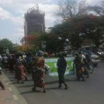 PF cadres matching along Cairo road protesting Dr Scott's  appointment