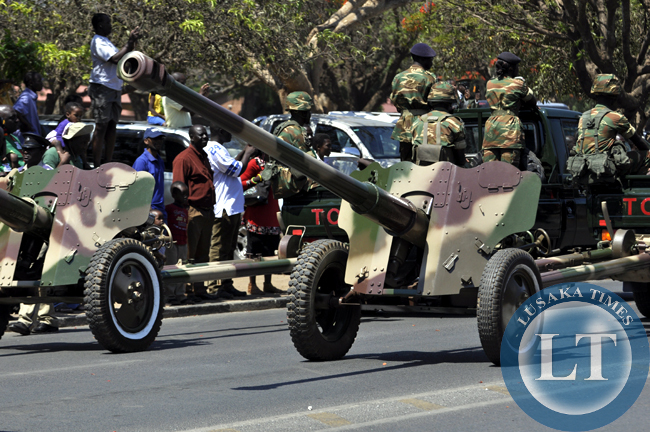 Part of the Zambia Army artillery displayed during the independence day march past in Lusaka