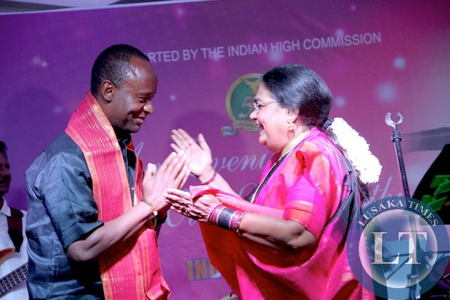 Indian Super Star Usha Uthup with Lusaka Mayor Mulenga Sata during the Golden Jubilee Anniversary of Zambia's Independence and the 50th Anniversary of India -Zambia Diplomatic relations in Lusaka on October 18,2014 -Pictures by THOMAS NSAMA