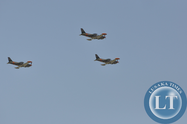 Zambia Air Force fighter jets make a fly past over the independence day march past in Lusaka
