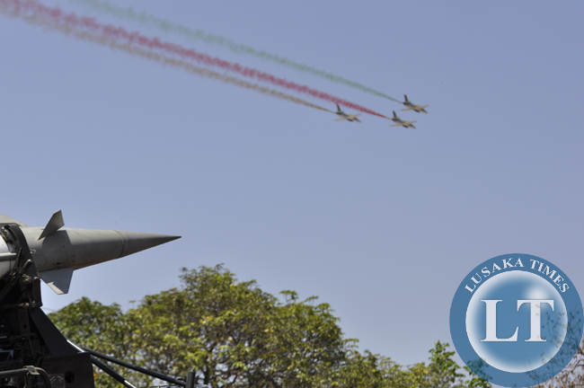 Zambia Air Force missiles on display as jets make a splendid fly past during the independence day march past in Lusaka