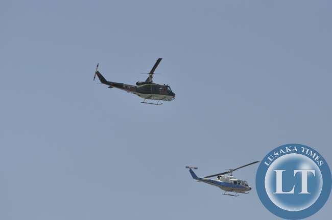 Zambia Air Fore chopper fly past the freedom statue during the independence day  march past in Lusaka