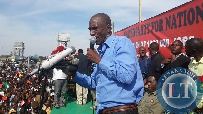 Andrew Banda at the UPND rally