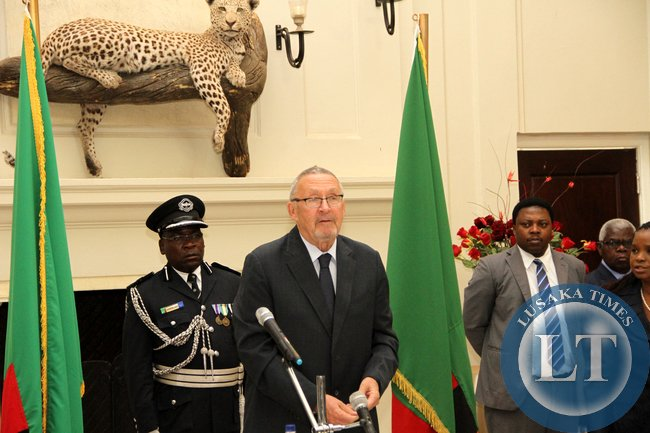 Acting President Dr Guy Scott during the swearing -in-ceremony of four High Court Judges on November 25,2014 -Picture by THOMAS NSAMA