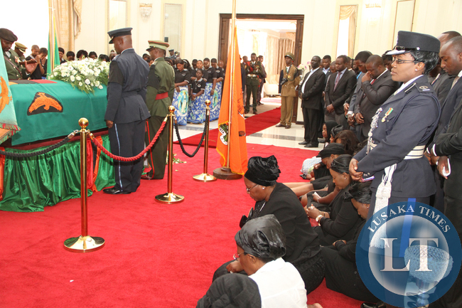 First Lady Dr Christine Kaseba during the arrival of President Sata's Body at State House on Nov 10,2014 -Picture by THOMAS NSAMA