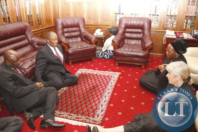 Swaziland Prime minister  during his Visits  to Dr Kaseba at State House  on November 10,2014 -Picture by THOMAS NSAMA