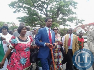Edgar Lungu on his way to file his nomination at Cabinet Office escorted by MPs, Cabinet and Deputy Ministers and Central Committee members.