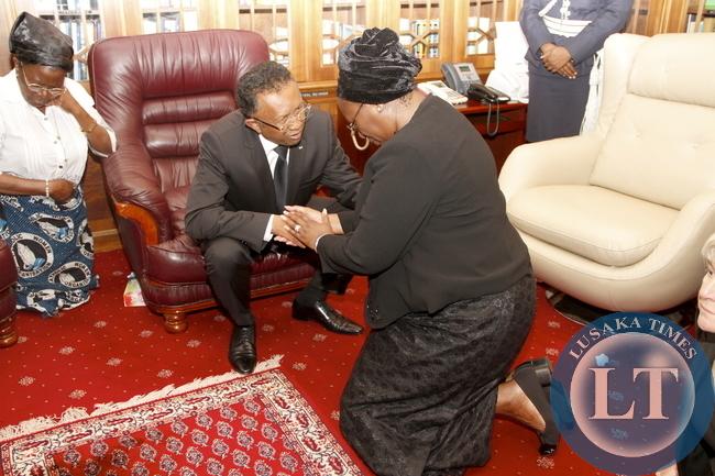 Madagascar  President Hery Rajaonarimampianina during his Visits  to Dr Kaseba at State House  on November 10,2014 -Picture by THOMAS NSAMA