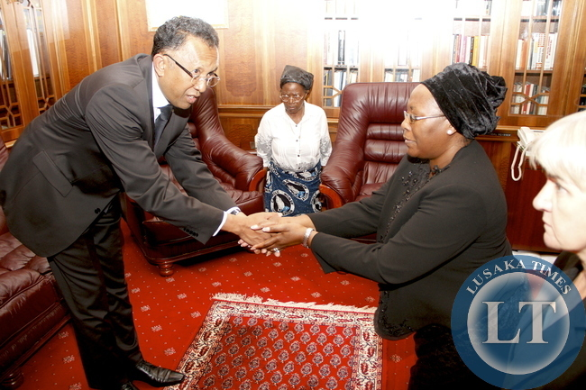 Madagascar  President Hery Rajaonarimampianina during his Visits  to Dr Kaseba at State House  on November 10,2014 -Picture by THOMAS NSAMA