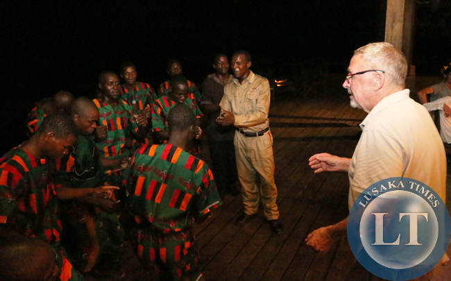 Dr Scott join in the Dancers at Royal Zambezi Lodge