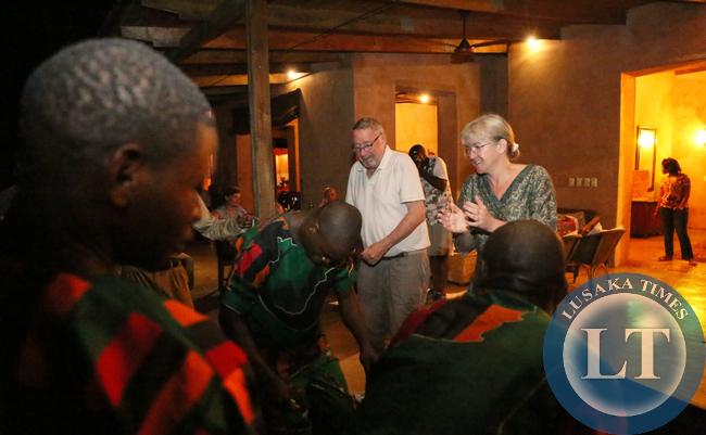 Dr Scott joins in the Dance at Royal Zambezi Lodge