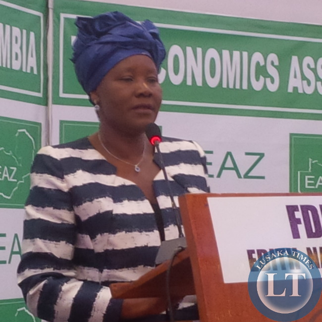 FDD leader Edith Nawakwi who offered to debate alone takes   the podium