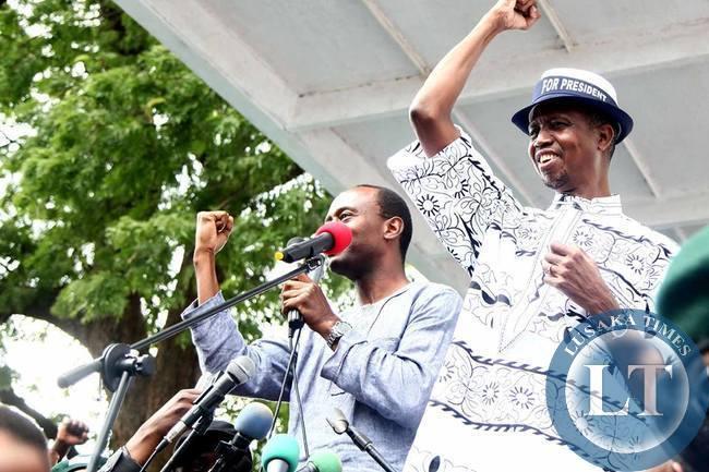 Mulenga Sata and Edgar Lungu at Campaign rally