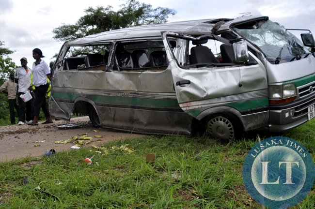 A private minibus in which six people died following a accident that overturned several times after a tyre burst in Nyimba