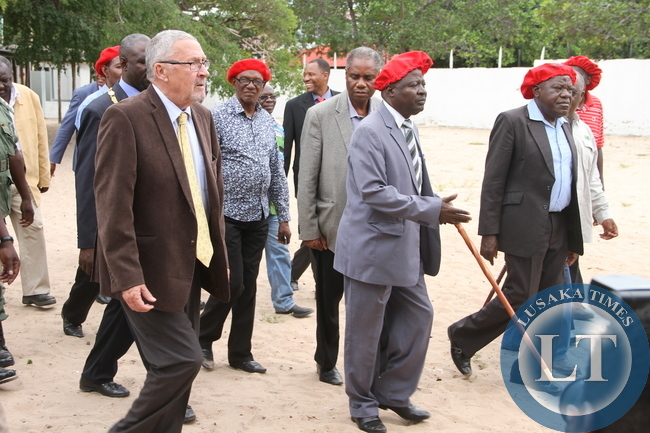 Acting President Dr Guy Scott with his wife Charlotte, Induna Inete and Mongu Central member of Parliament Nathaniel  Mubukwanu leaves after a meeting with Induna's at Limulunga in Mongu . Dr Scott was in Western Province
