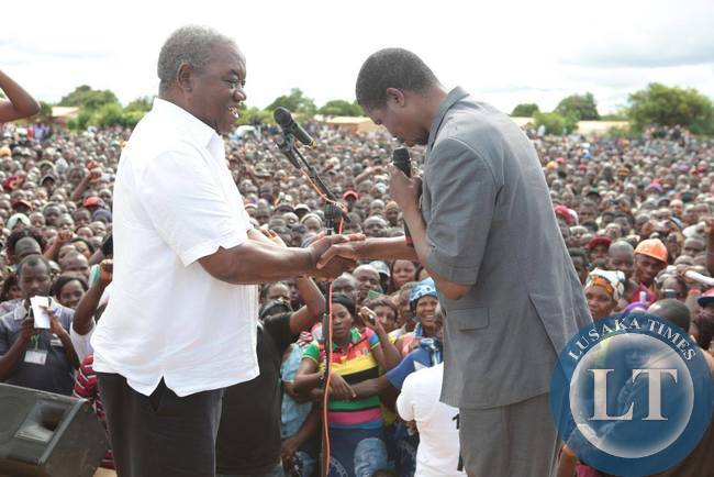 Edgar Lungu and RB on stage in Petauke