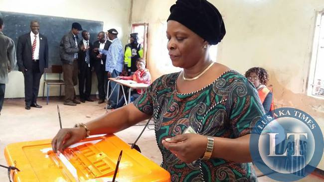 Edgar Lungu's wife Esther votes
